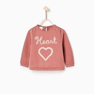 Zara Baby Girl Tulle Heart Sweatshirt